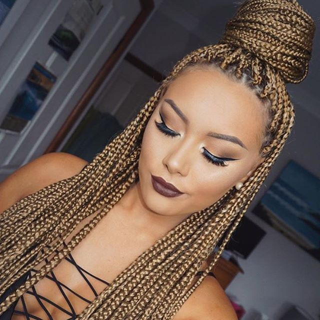 98 best braids images on pinterest black braided hairstyles and blond box braids box braids with color pmusecretfo Images