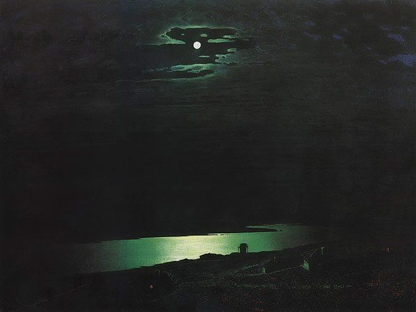 Moon lit Night on the Dnieper 1880 | Arkhip Kuinji | oil painting #russianpaintings