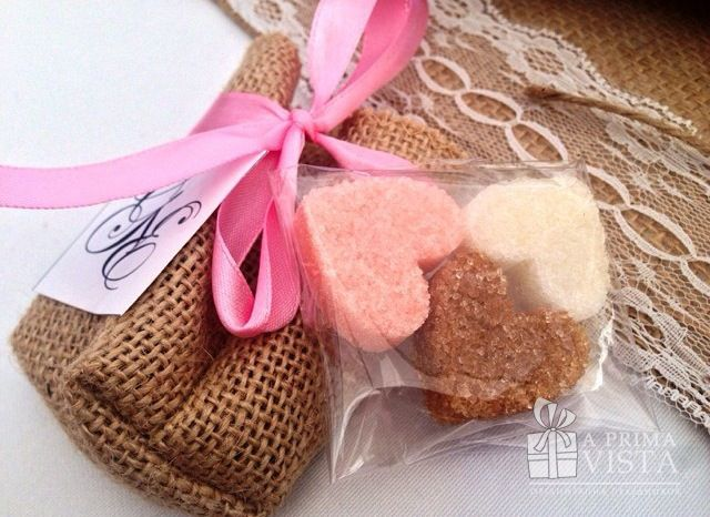 Lovely rustic bonbonniere with sugar hearts. #rustic #wedding #sugar #heart #bonbonniere