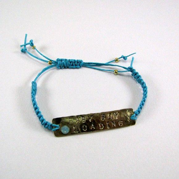 "Adjustable macrame bracelet with light blue wax thread, handmade jewelery ""Baby Boy Loading"" ID made of wrought brass and zwarovski stone."