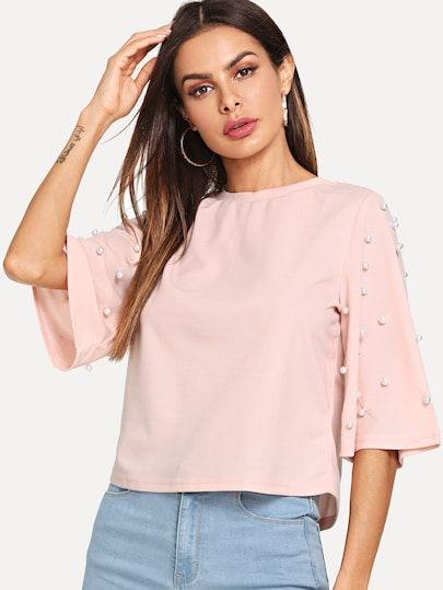 2edaa7c7393 Pearl Embellished Fluted Sleeve Tee in 2019