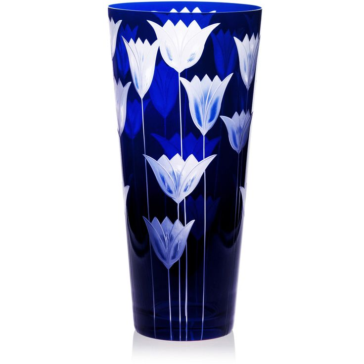 Handmade glass blown Cone Vase, Tulipa-Blue 6090, height: 290 mm | top diameter: 140 mm | Bohemia Crystal | Crystal Glass | Luxurious Glass | Hand Engraved | Original Gift for Everyone | clarescoglass.com
