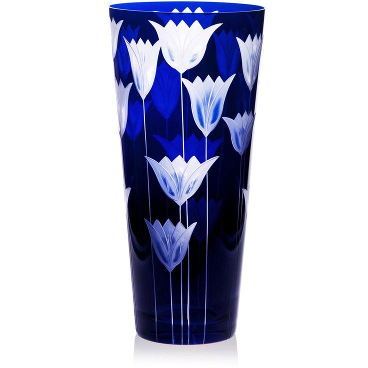 Handmade glass blown Cone Vase, Tulipa-Blue 6090, height: 290 mm | top diameter: 140 mm | Bohemia Crystal | Crystal Glass | Luxurious Glass | Hand Engraved | Original Gift for Everyone | clarescoglass.com