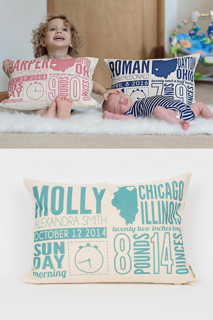 Birth announcement pillows not only celebrate a new baby but also show how big your little one has grown!