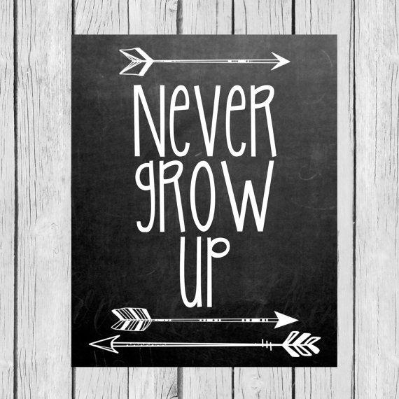 Chalkboard  Never Grow Up  Tribal/Aztec Arrow by LoveandPrint