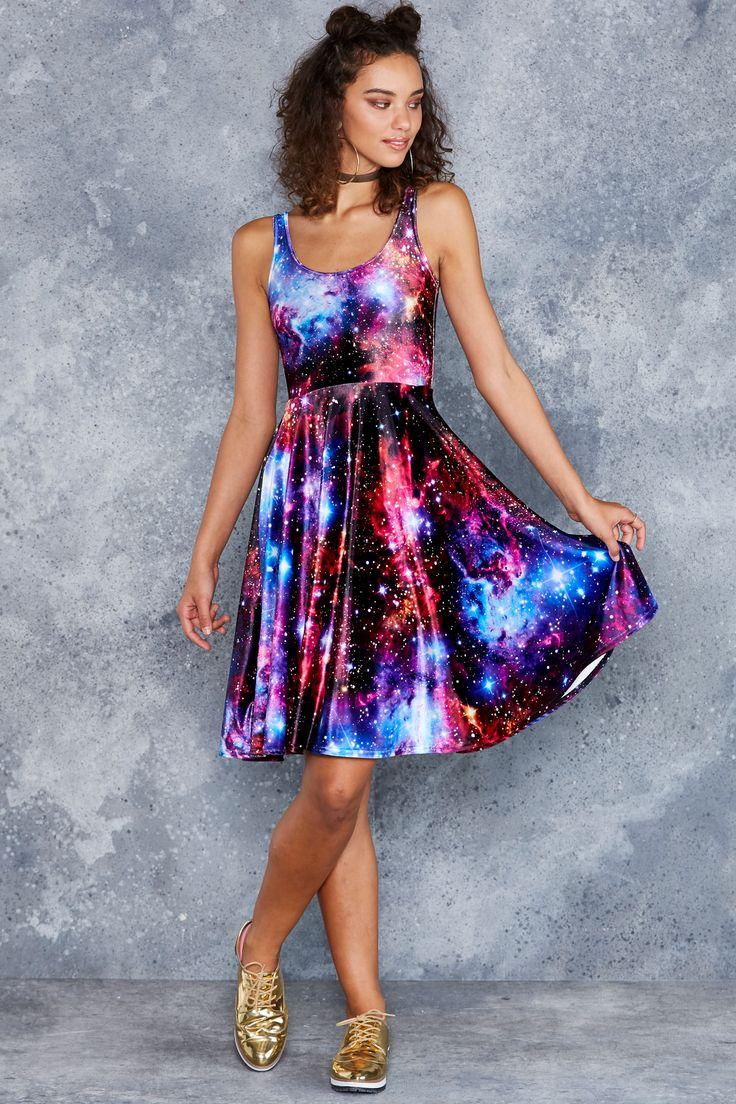 Galaxy Amethyst Velvet Pocket Midi Dress ($120AUD) by BlackMilk Clothing