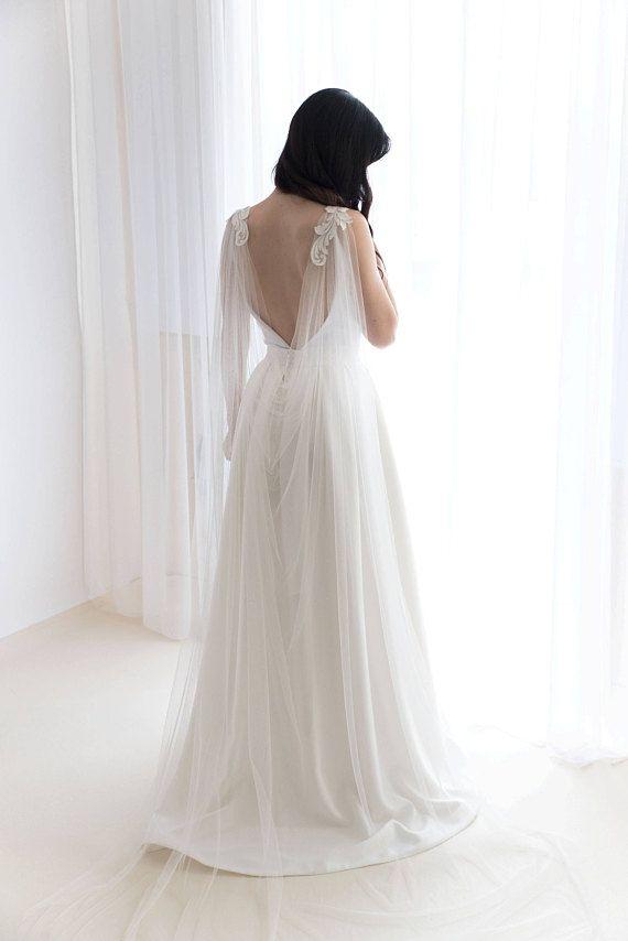 Cape veil with lace  Bridal cape veil  Wedding cape veil