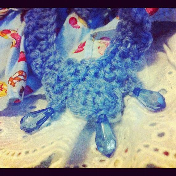 Pastel Blue Crochet Lace Collar Necklace. $75.00, via Etsy.