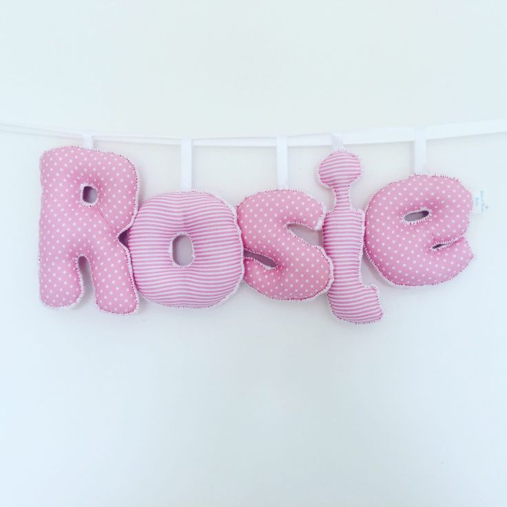 Pink and White Personalised Letter Bunting  Personalised Nursery Garland