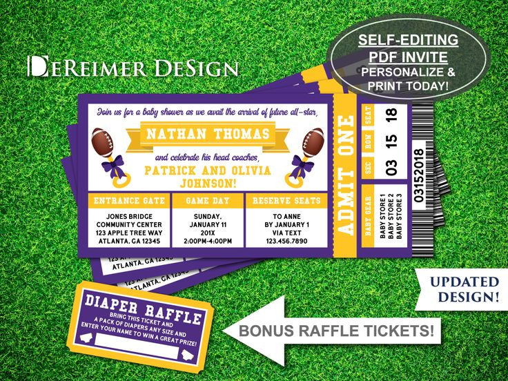 Sports Ticket Baby Boy Shower Invitation, Little All-Star, Football, Purple and Yellow, Self-Editing PDF Invite, BONUS Diaper Raffle Tickets