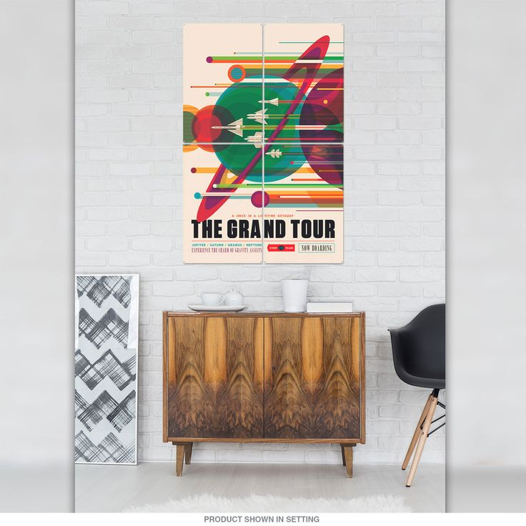 This stunning quadriptych wall art includes four large metal signs with one continuous image. Available in 24 x 36, 32 x 48 and 36 x 54 sizes. Heavy-duty steel panels with vibrant, travel poster-style artwork and space theme commissioned by NASA. Made to order and ships directly from manufacturer. Panels have riveted holes, ready to hang right out of the box. Made in the USA. A sensational way to decorate a large wall space in your office or game room.