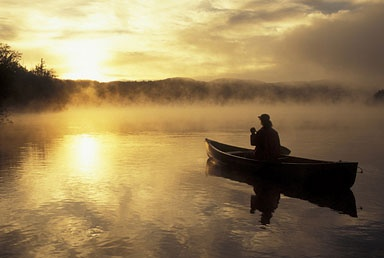 Canoeing in the sunset - I would like to get away for a while and spend time with Jesus like this