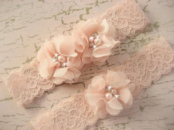 SALE Sale Wedding Garter , Blush Garter, Set with Toss Garter in Blush  , Bridal Garter with Chiffon Blossoms pearls and rhinestones