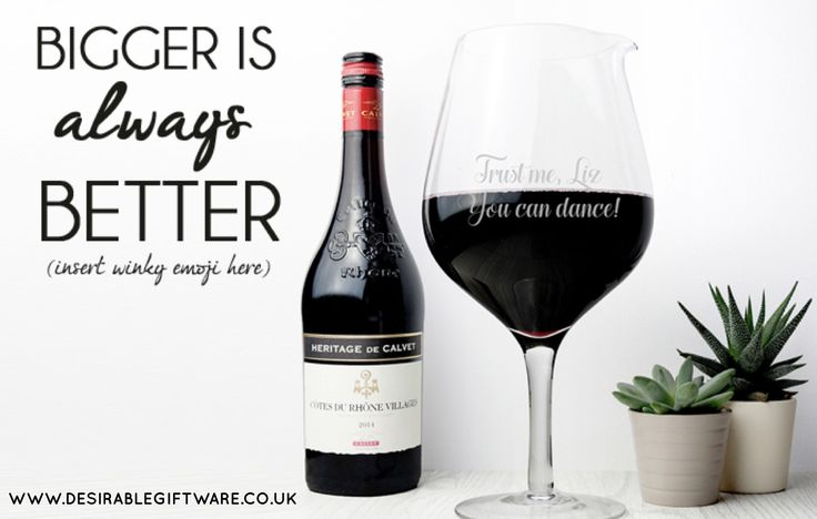 Wine lovers around the world, rejoice! Finally a glass big enough to  fulfill your ultimate dreams. This huge wine glass can be filled with not one, but two bottles of wine - perfection!  #Gifts #Bespoke #Personalised   http://www.desirablegiftware.co.uk/jumbo-wine-glass-31516-p.asp