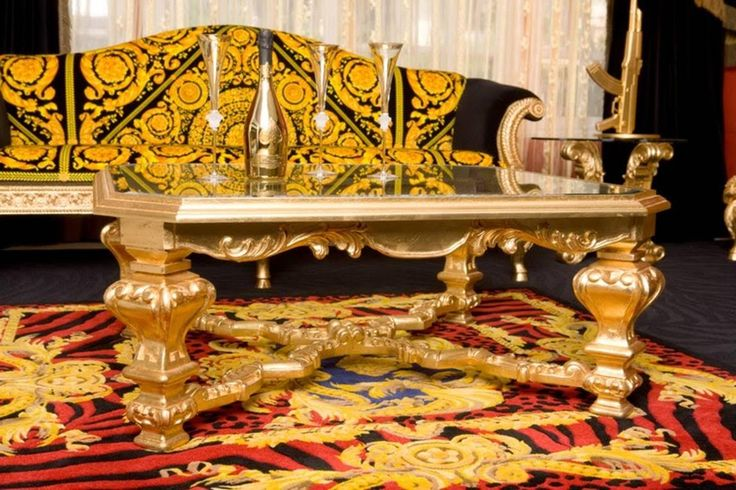 Ace of Spades | Armand de Brignac  Versace Home, Medusa Wild DV Red Animal Wool Hand-Tufted Rug  Versace Meets Rosenthal D'or Crystal Champagne Flutes    Philippe Starck, AK-47 Gun Lamp 24ct Gold Plated  In summary:  Regal, Royal, Rich.   - GROUPE-LUXE™