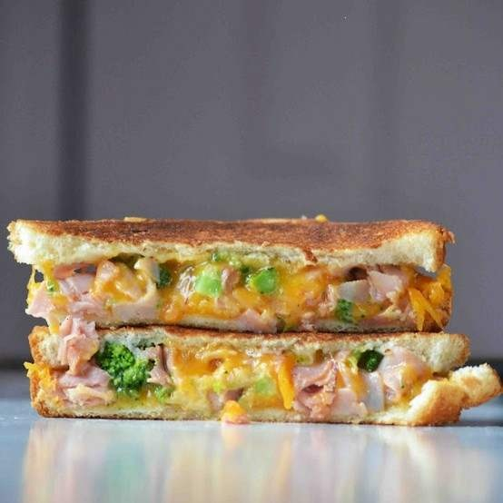 grilled ham, brocolli & cheese sandwiches. No way would I use white bread and orange cheese, but this sounds so incredibly goooood.