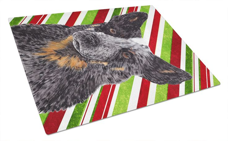Australian Cattle Dog Candy Cane Holiday Christmas Glass Cutting Board Large