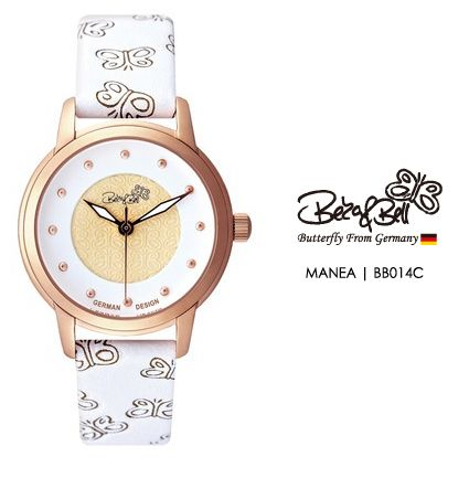 MANEA BB014C  | Meterail:316L Stainless Steel  | Movement: MIYOTA 2035  | Case Size: 30mm  | Band Size: 14mm  | Band: Butterfly Engraved Genuine Leather  | Glass: Hardened Mineral Crystal  | Water Resistance : 3 ATM