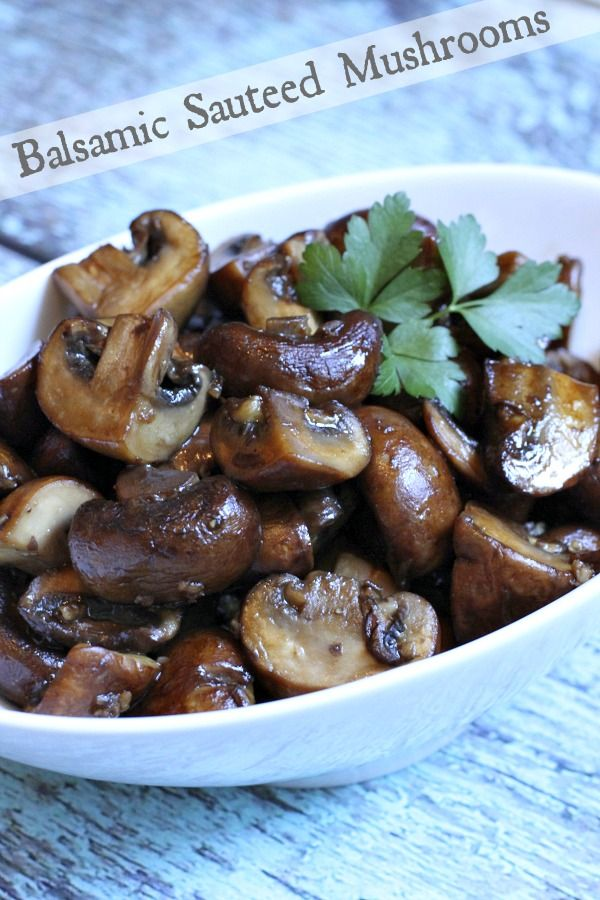 Recipe for Balsamic Mushrooms- a delicious recipe for sauteed mushroom lovers! Nutritional information, Weight Watcher's points and photograph included.
