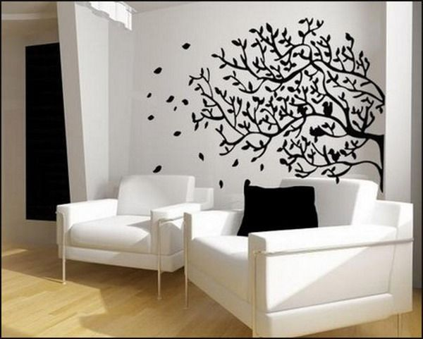 Elegant Living Room Design Ideas With Tree Wall Murals