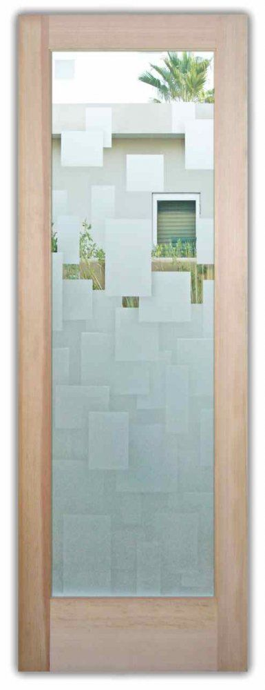 Cubes Floating 3D Door - Etched Glass Front Doors Squares Pattern Frosted Glass Door by Sans Soucie Art Glass.