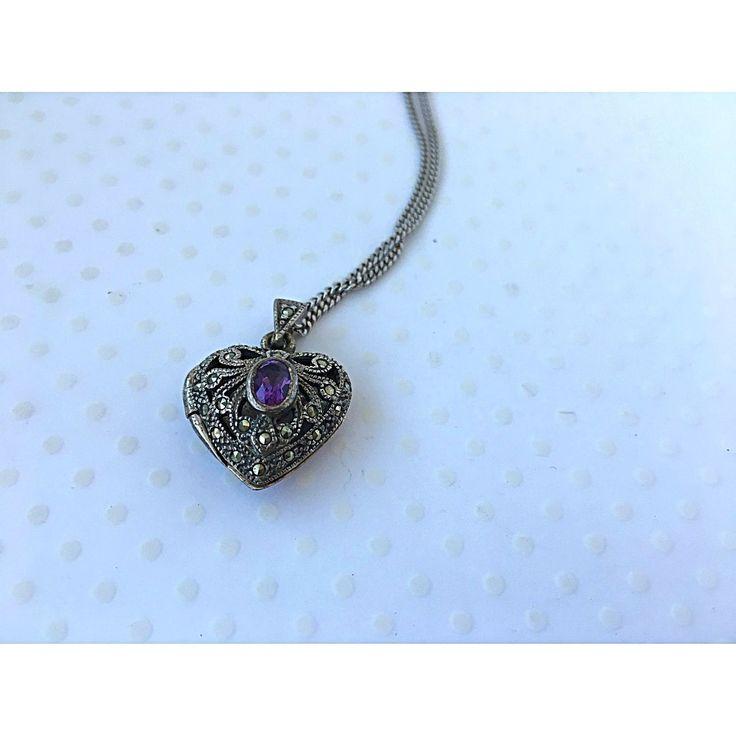 Silver & Amethyst Heart Locket