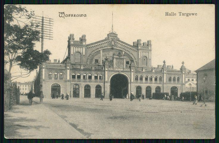 Pocztówka: Warszawa Halle Targowe, nakł. B-ci Rzepkowicz (1906)