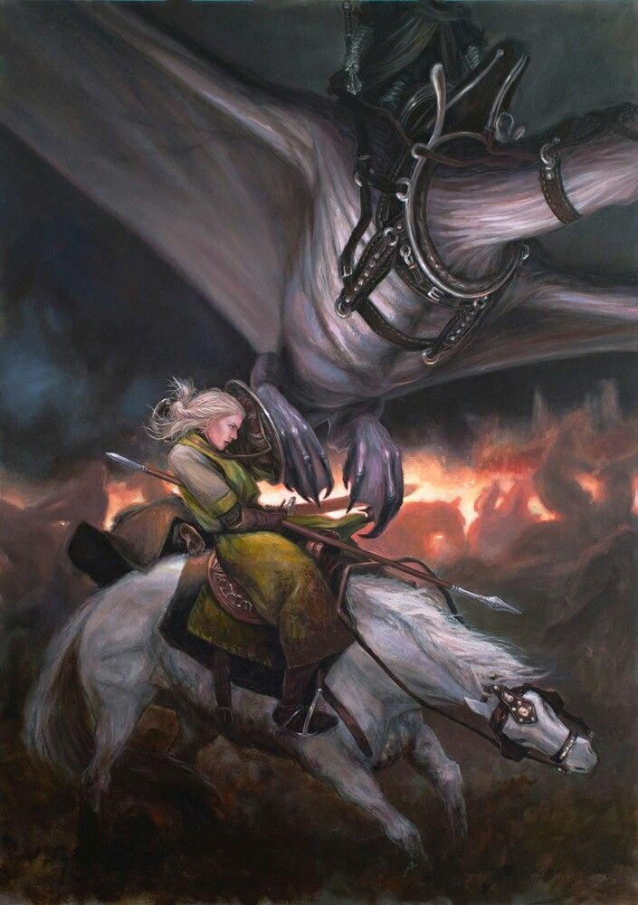 Eowyn and the Nazgul by Drew Baker
