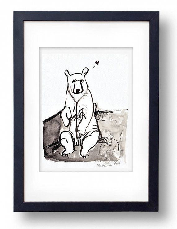 Original ink painting Bear in love by TinyLabShop on Etsy