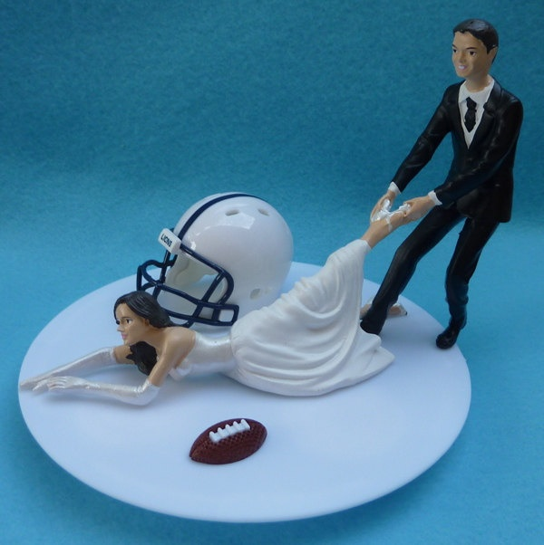 Wedding Cake Topper Pennsylvania Penn St. State University Nittany Lions PSU G Football Themed w/ Garter, Display Box.  - Hysterical!