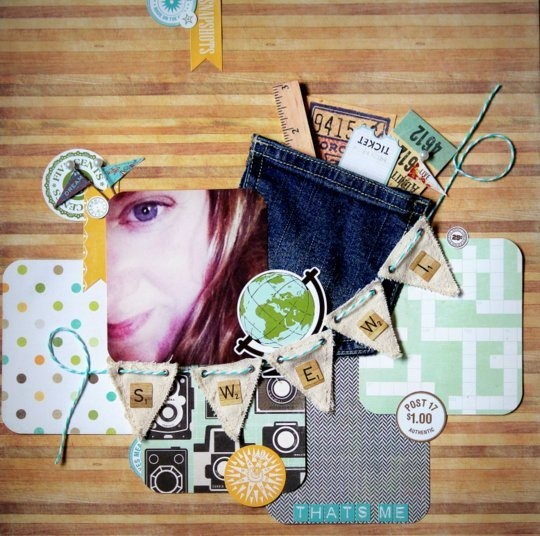 add a jean pocket to a scrapbook page... knew there was a reason I kept some - leave little things sticking out of it, school days pages
