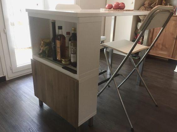 Bonjour, Je vous propose une « Bidouille Ikéa » que j'ai fais pour la cuisine : Table haute / Ilot de cuisine L120 x l60 x h90cm La recherche infructueuse
