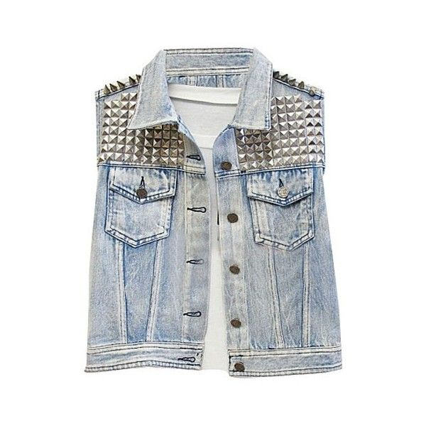 Faded Denim Tanks with Studs and Spikes ❤ liked on Polyvore