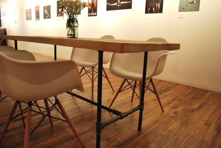 """Reclaimed Wood Table with indistrial steel table legs(150 year plus """"old growth"""" wood). $1,075.00, via Etsy."""