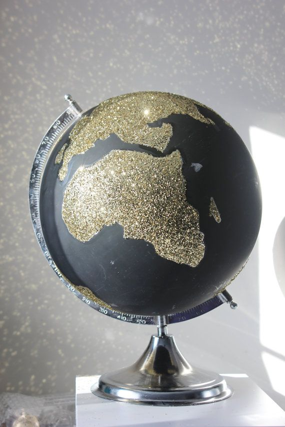 GLITTER GOLD GLOBE World Large Desk Chalkboard Globe With Rotating Stand Glittered Sparkly Vintage Style Glam Travel Theme Wedding Guestbook