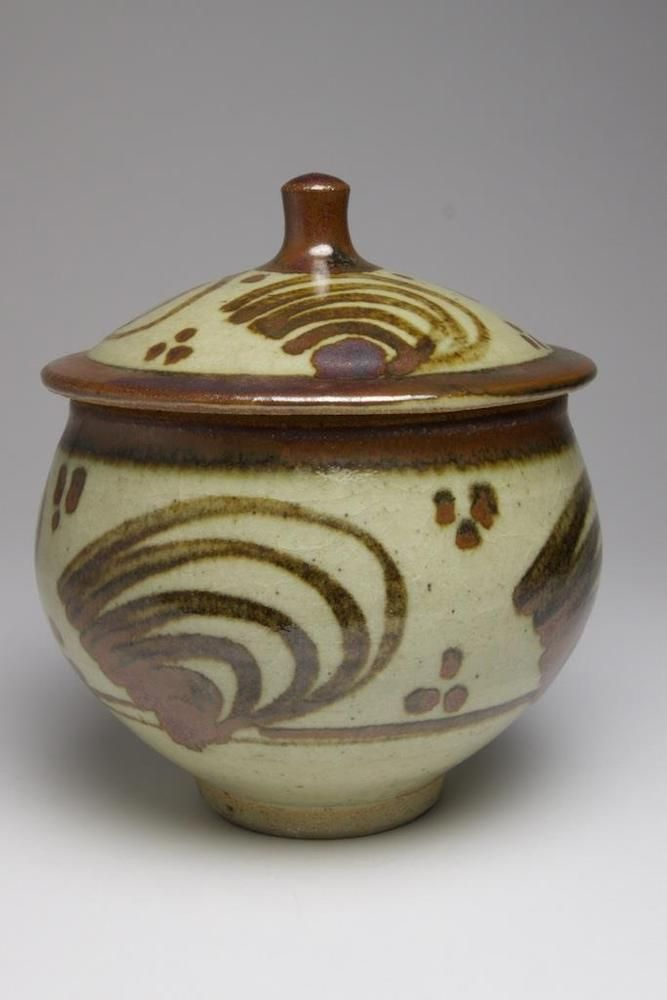 St. Ives Studio pottery stoneware preserve pot and cover