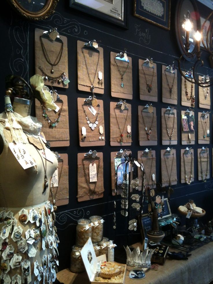 ButtonArtMuseum.com - Artfully Displayed Necklaces: Use neutral-wood clipboards in rows to display jewelry | This is Grandmother's Buttons Jewelry as displayed at www.artfullyframe...