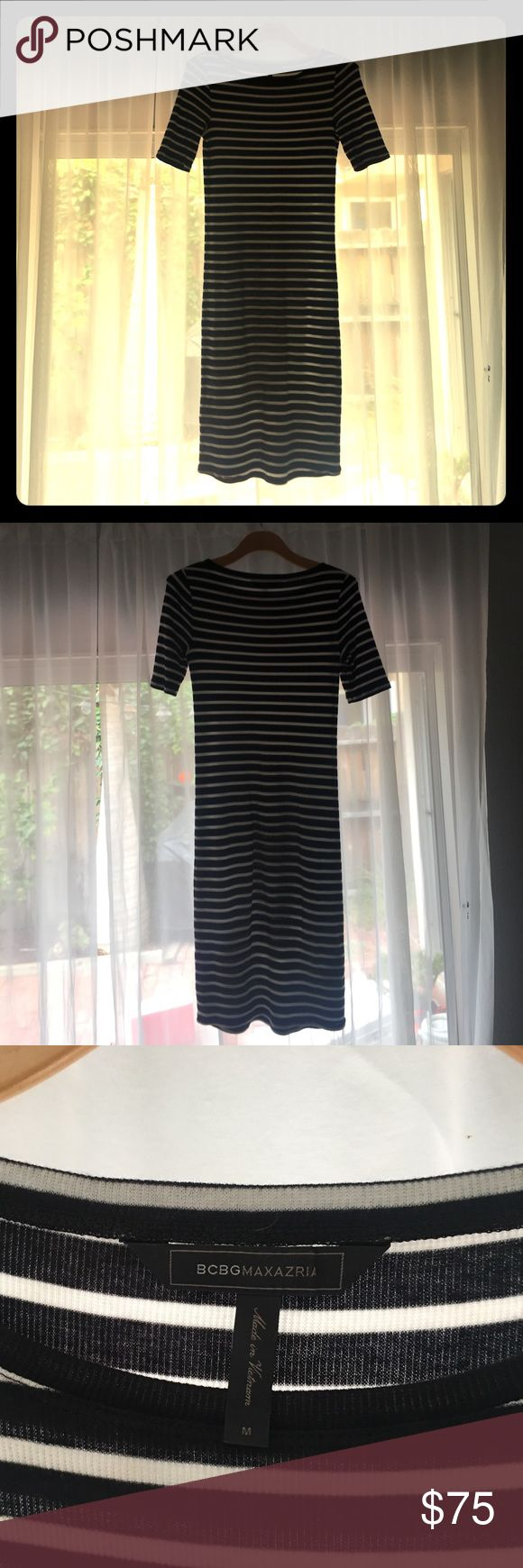 BCBG MaxAzira Stripe Maternity Dress M Black and White Stripe Maternity Dress, knee length, 3/4 length sleeves, Size Medium BCBGMaxAzria Dresses