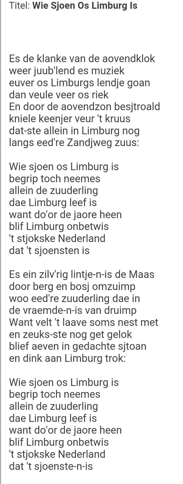 Songtekst: Wie sjoen os Limburg is