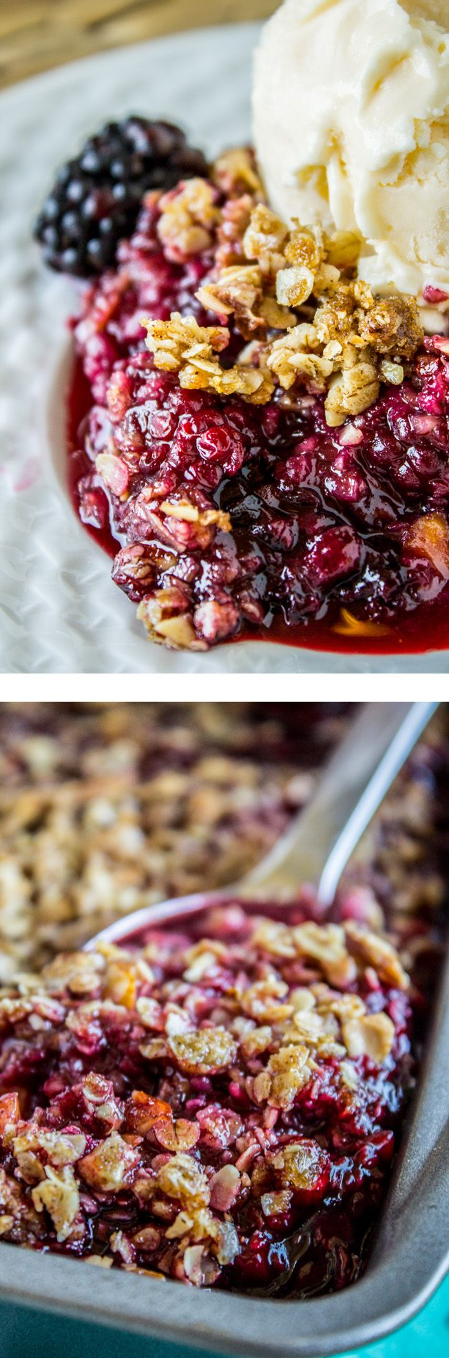 Easy Blackberry Cobbler with Oat Crunch Topping from The Food Charlatan. This to-die-for Blackberry Cobbler is so easy it's ridiculous! The crunchy oat topping comes together super fast, and is the perfect compliment to summer's finest offering: blackberries. DON'T eat this without vanilla ice cream!