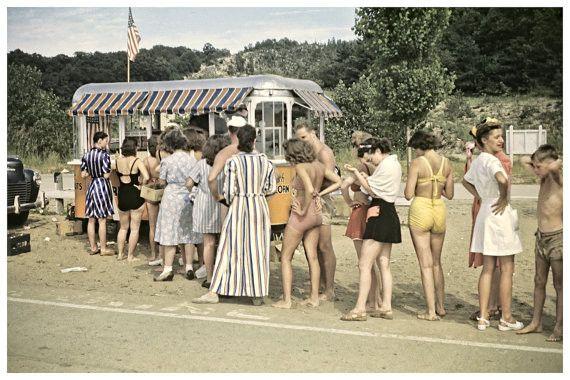 Vintage Beach Photo 1950s Swimsuits 12x8 Home Decor Beach Decor Surf Decor