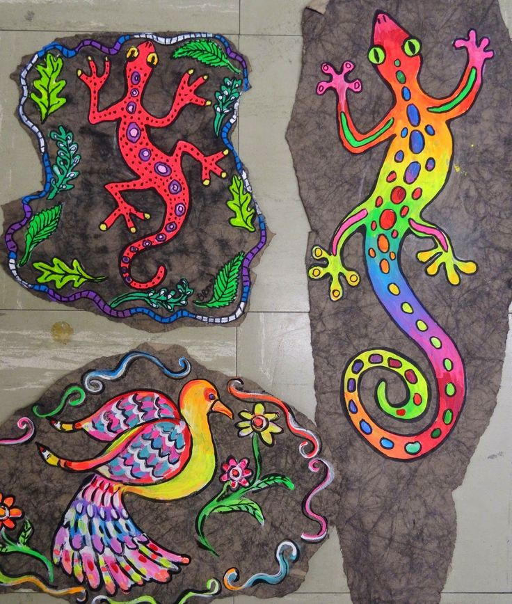 There's a Dragon in my Art Room: Faux Mexican 'bark' paintings!