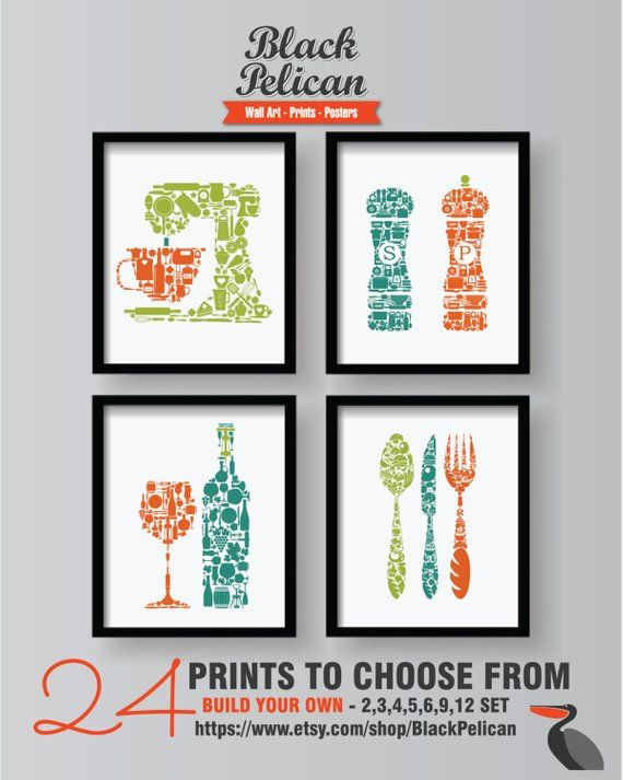 Colorful Kitchen Wall Art Prints 4 Set Dining Room Wall Art Etsy Kitchen Wall Colors Kitchen Wall Art Dining Room Wall Art