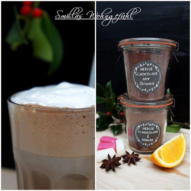 DIY leckere heisse Schokolade (Pulver) selber herstellen? geht ganz einfach! Rezepte für zwei Geschmacksrichtungen: mit Orange und mit Minze by www.SmillasWohngefuehl.blogspot.com