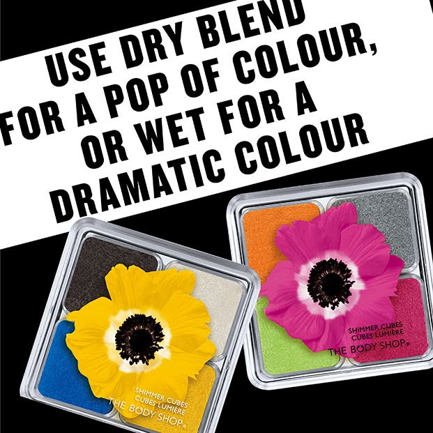 The Body Shop Shimmer Cubes in Yellow and Pink - Use Dry Blend for a POP of colour, or wet for a dramatic colour: http://www.thebodyshop.co.za/store/list/category/new-trend-make-up