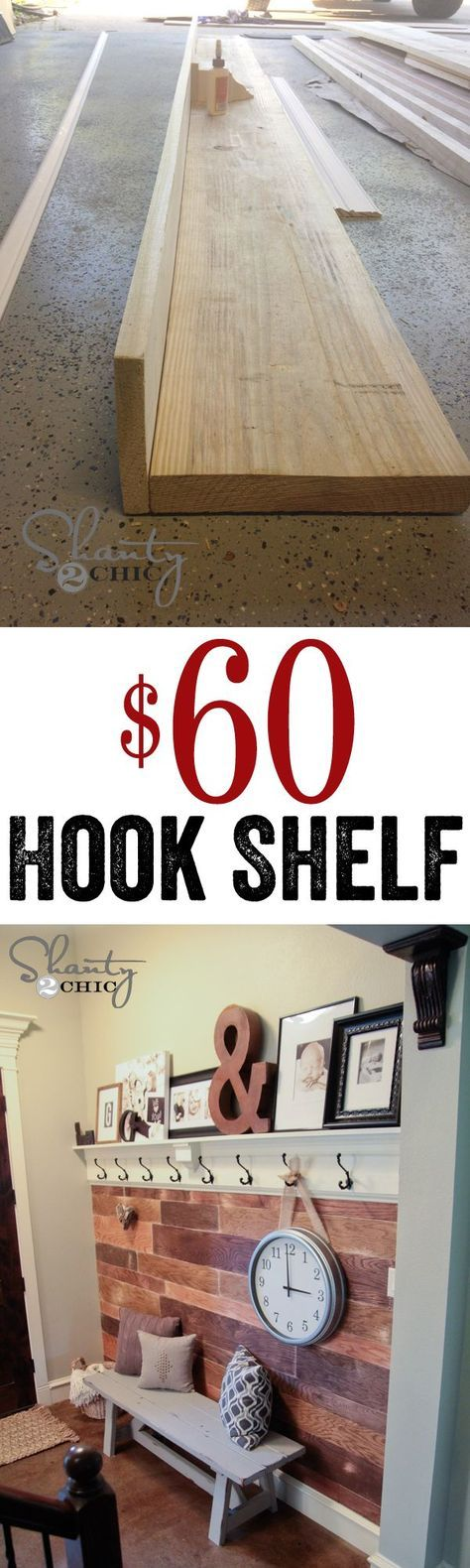 DIY Easy and Cheap Hook Shelf for under $60!  Perfect for any wall!! Maybe Jason could build this for our entryway!