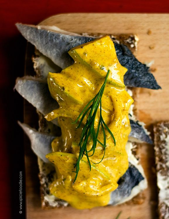 Herring with Curry Sauce on Danish Smorrebrod (Smørrebrød). My favorite at the Copenhagen Tavern in Brussels