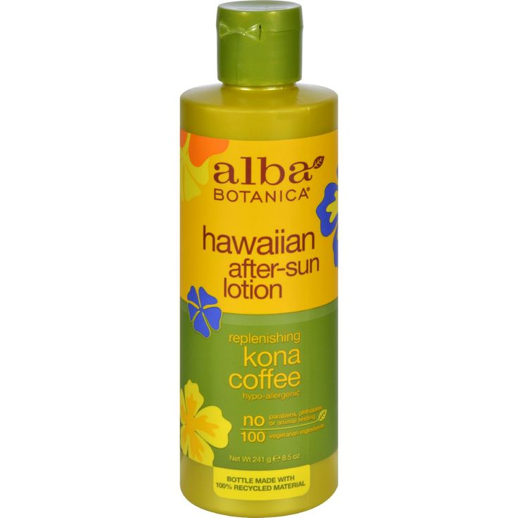 Alba Botanica Hawaiian Kona Coffee After-Sun Lotion - 8.5 fl oz - Alba Organics Hawaiian Kona Coffee After-Sun Lotion Description: Hypo-allergenic 72% Certified Organic Ingredients. Exotic and aromatic, the natural acids in coffee soften skin and revitalize circulation, while caffeine and green tea help neutralize free-radical damage due to sun over-exposure. Tropical emollients hydrate and nourish for a healthy, radiant glow. Disclaimer These statements have not been evaluated by the FDA…