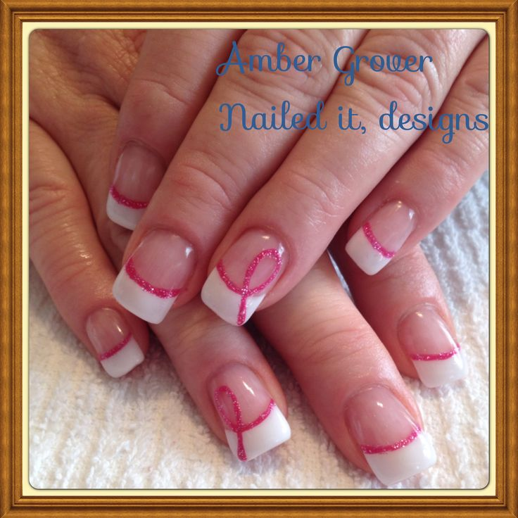 Breast cancer nails by Nailed it, Designs ... I love the way the line turns into the ribbon !!