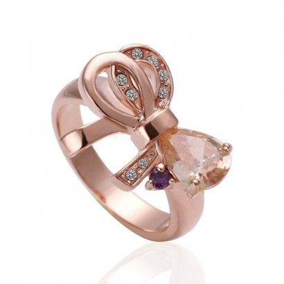 18K Rose Gold Plated Bowknot CZ Wedding Ring'  Adjustable Ring
